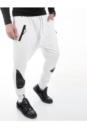Deepsea Beyaz Yıldız Baskılı Paçası Fermuarlı Şalvar Erkek Eşofman Altı 1750071-001