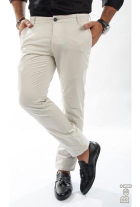 Deepsea Bej Kare Desenli Slim Fit Erkek Keten Pantolon 1602370-021