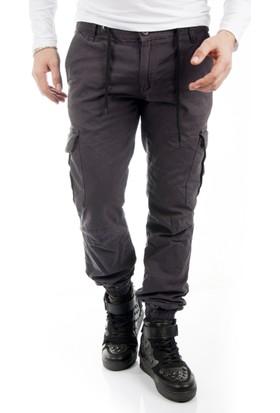 Deepsea Koyu Gri Paçası ve Beli Lastikli Bağcıklı Erkek Kargo Pantolon 1601569-126