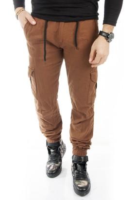 Deepsea Koyu Camel Paçası ve Beli Lastikli Bağcıklı Erkek Kargo Pantolon 1601569-216