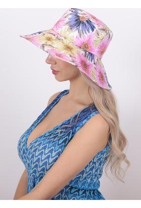 Bay Şapkacı Kadın Çiçek Baskılı Şapka