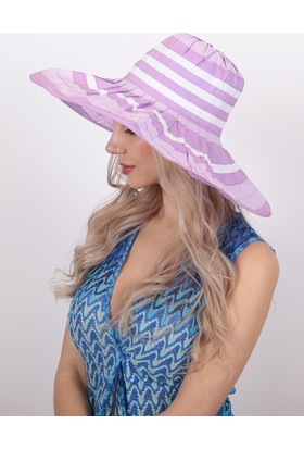 Bay Şapkacı Kadın Çizgili Geniş Kenarlı Şapka