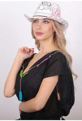 Bay Şapkacı Kadın Desenli Kovboy Fötr Şapka