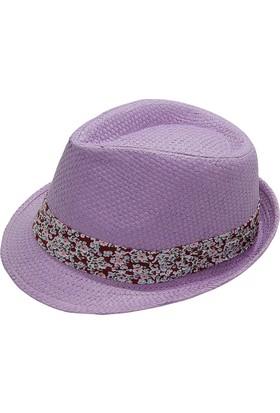 Bay Şapkacı Kadın Çiçek Desenli Fötr Şapka