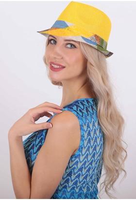 Bay Şapkacı Kadın Siperi Desenli Fötr Şapka