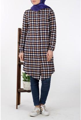 Allday Kareli Gömlek Tunik 51129 - Lacivert