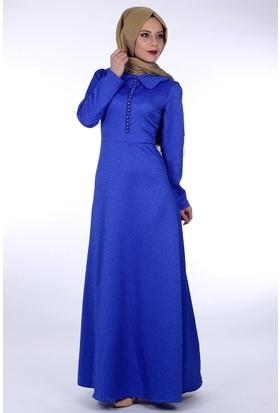 Oben Jakarlı Abiye Elbise 0167 - Saks