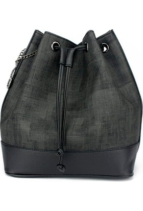 Voo Siyah Büzgülü Bucket Çanta