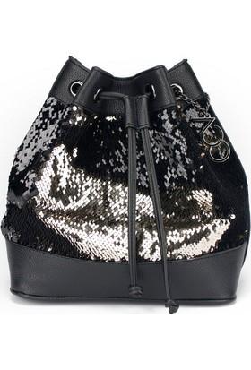 Voo Siyah Pullu Payetli Büzgülü Bucket Çanta
