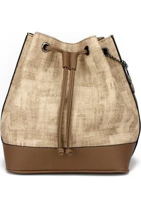 Voo Vizon-Kahverengi Büzgülü Bucket Omuz Askılı Çanta