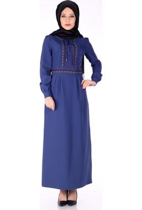 Reference Etnik Desen Elbise 5010 - Gece Mavi