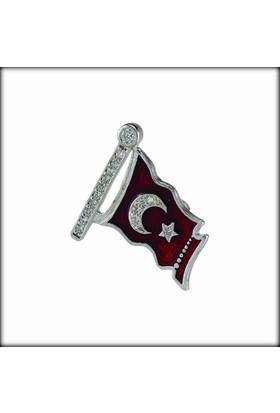 Şahin Gümüş Türk Bayrağı Gümüş Rozet