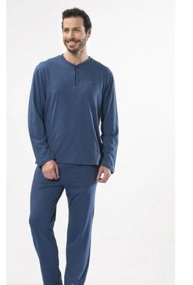 Cacharel 2101 İğne Çıkmalı Jakarlı Önü Açık Uzun Kol %100 Pamuk Erkek Pijama Takımı