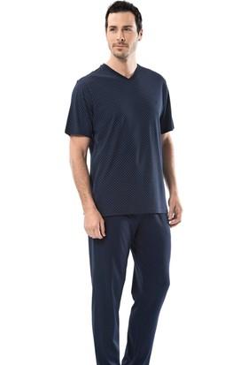 Cacharel 2151 Empirme Baskılı V Yaka Kısa Kol Erkek Pijama Takımı