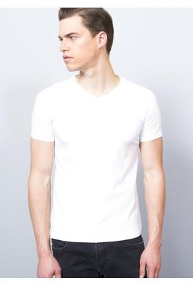 Adze Erkek Beyaz V Yaka T-Shirt