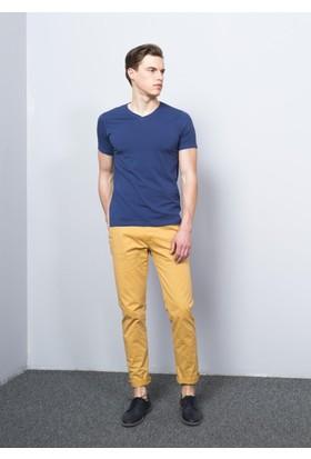 Adze Erkek İndigo V Yaka Likralı T-Shirt