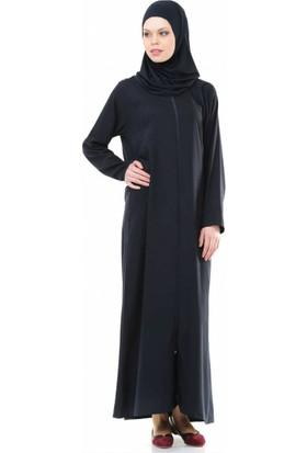 İHVAN 5008-2 Lacivert Pratik, Kendinden Örtülü Namaz Elbisesi - S