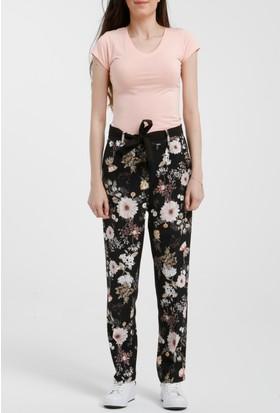 Ayriss Siyah Kuşaklı Çiçek Desenli Pantolon