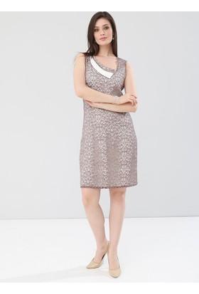 Pianoluce Büyük Beden Kadın Vizon Elbise 1245