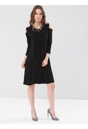 Pianoluce Büyük Beden Kadın Siyah Elbise 1248
