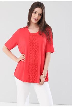 Lir Kadın Önü Örgülü Bluz Kırmızı 2114
