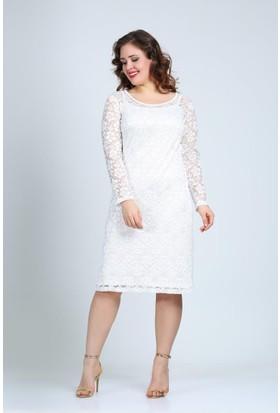 Angelino Butik Kl15154 Beyaz Abiye Elbise