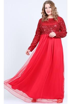 Angelino Butik Kl7887 Kırmızı Abiye Elbise