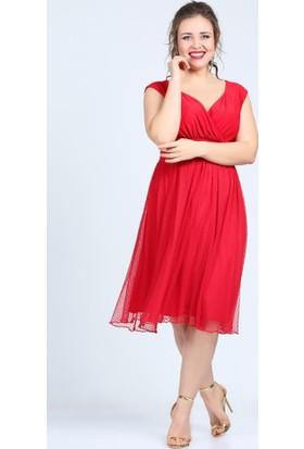04ad188fa7baa ... Angelino Butik Kl7878 Kırmızı Abiye Elbise