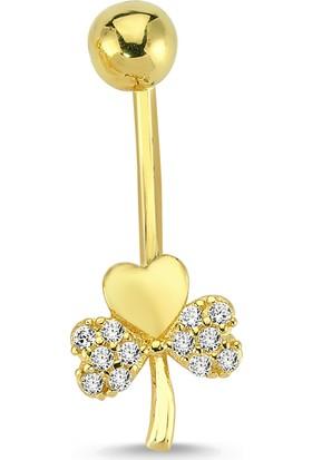Altınsepeti Altın Kalpli Yonca Göbek Piercing As10Pc