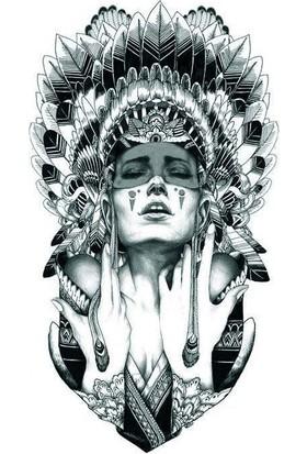Hane14 Squaw Kızılderili Kadın Büyük Geçici Dövme