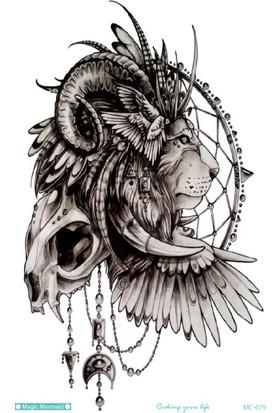 Hane14 Lion Totem Aslan Başı Totem Büyük Geçici Dövme