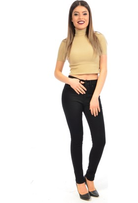 Zift Kadın Yüksek Bel Kanvas Pantolon