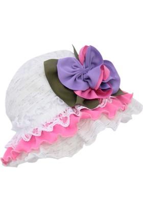 Babygiz Çiçekli Fırfırlı Şapka