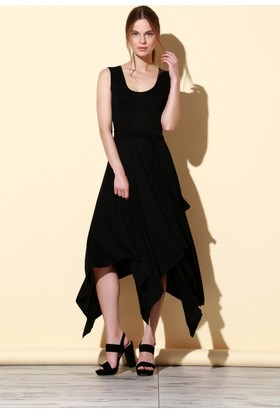 Quincey Viskon Elbise Siyah EB2465