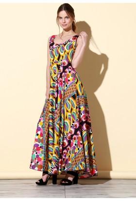 Quincey Pamuklu Elbise Renkli EB2470