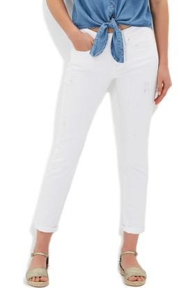 Mavi Kadın Ada Yırtıklı Beyaz Jean Pantolon