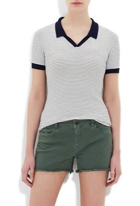 Mavi Kadın Polo Yaka Beyaz T-Shirt