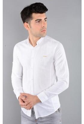 Rodin Hills Beyaz Erkek Gömlek Keten Kulplu 9063