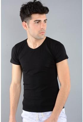 Rodin Hills Siyah Erkek T-Shirt V Yaka Basic V-2210