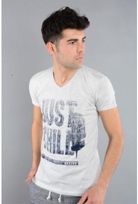 Rodin Hills Gri Melanj Erkek T-Shirt V Yaka Just Chill Baskılı