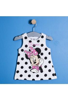 Soobe Lisanslı Disney Minnie Mouse Fiyonklu Kolsuz Elbise Beyaz