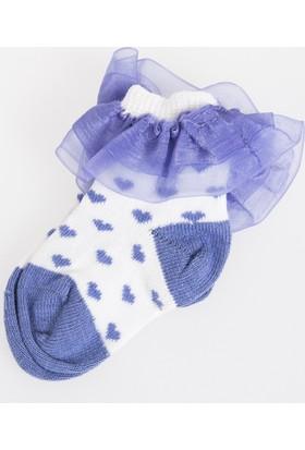 Soobe Puantiyeli Fırfırlı Soket Çorap Beyaz
