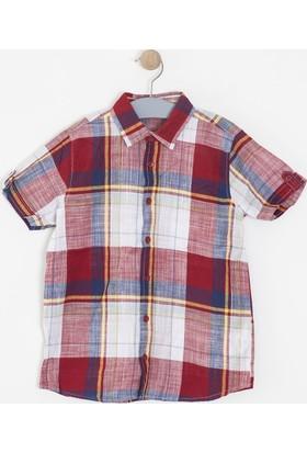 Soobe Erkek Çocuk Ekoseli Kısa Kol Gömlek Kırmızı