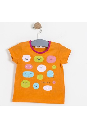 Soobe Pop Girls Gülen Suratlar Kısa Kol T-Shirt Oranj