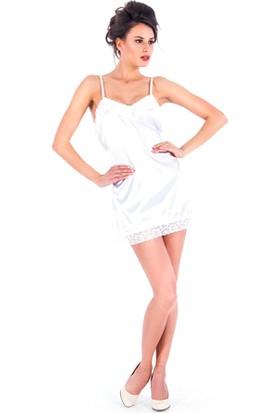 Vixson Nightwear Dantelli Beyaz Saten Gecelik