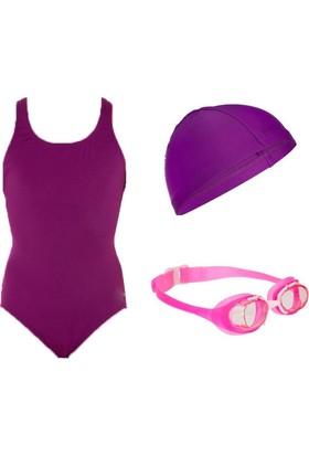 NBJ Kız Çocuk Yüzme Seti(Mayo-Bone--Gözlük)