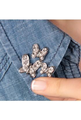 Modex Rodyum Kelebekler Taşlı Yaka Broşu