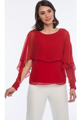 İroni Yarasa Kol Kırmızı Şifon Bluz
