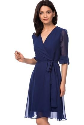 İroni İspanyol Kol Şifon Saks Elbise