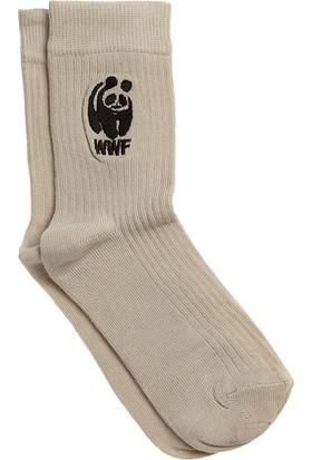 Organik Nakışkı Panda Desenli Çocuk Soket Çorap